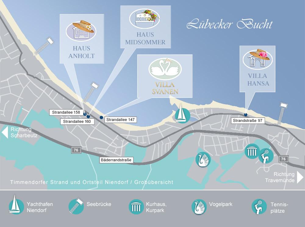 Die Lage unserer 4 Häuser mit Ferienwohnungen auf Karte vom Timmendorfer Strand.