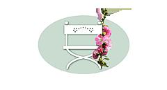 """Bildzeichen von """"Unser Sommerhaus"""": weißer nostalgischer Gartenstuhl mit roter Stockrose auf hellgrünem Oval"""