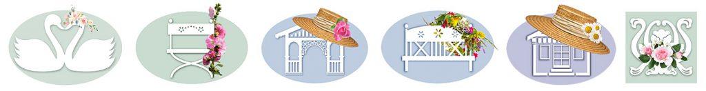 6 romantische Piktogramme, stellvertretend für 6 verschiedene Ferienobjekte